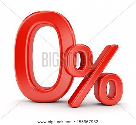 Finance banking commission and tax concept. Zero percent symbol isolated on white background. 3D illustration