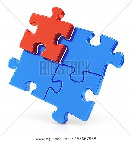 Four assembling color red and blue puzzle pieces isolated on white background. Business teamwork concept. 3D illustration