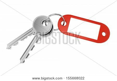 Red keyring with blank tag for text or number and two metal door keys isolated on white background. 3D illustration