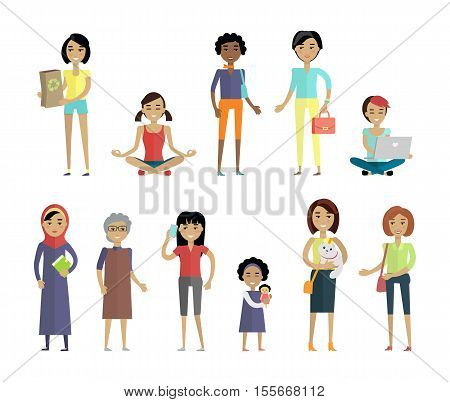 Set of women of different ages and races isolated on white. Variety of clothes, nationalities. Racial diversity concept. Woman template personages for fashion app, logos, infographic. Vector
