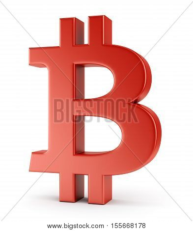 Symbol of bitcoin isolated on white background. Crypto currency e-business and technology concept. 3D illustration