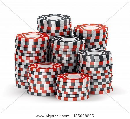 Big pile of color black and red casino tokens isolated on white background. 3D illustration