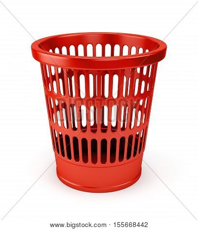 Empty red wastebasket icon isolated on white background. 3D illustration