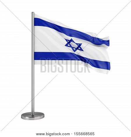 National fag of Israel isolated on white background. 3D illustration
