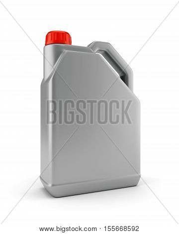 Gray plastic canister for motor oil isolated on white background. 3D illustration