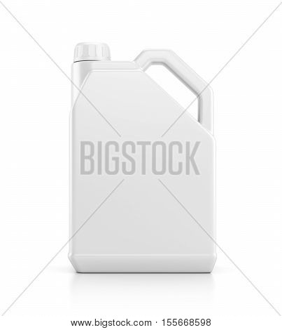 Blank plastic canister for motor oil isolated on white background with reflection effect. 3D illustration
