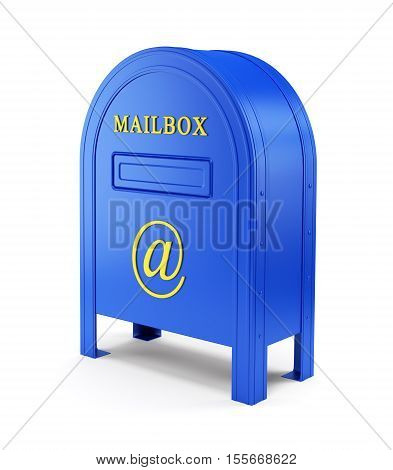 E-mail chatting internet and communication concept. Blue postbox with At sign isolated on white. 3D illustration