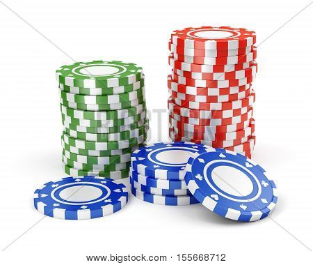 Pile of color green red and blue casino tokens isolated on white background. 3D illustration