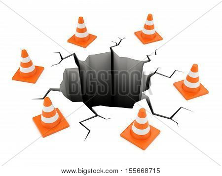Road cones around black cracked ground isolated on white. Accident failure and web site under construction concept. 3D illustration