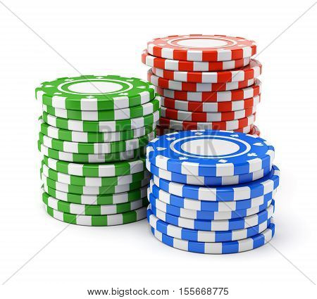 Group of colorful casino chips stacks isolated on white background. 3D illustration