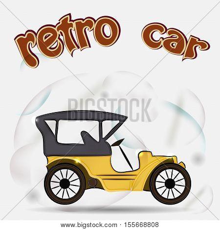 Retro car isolated on white background. Retro