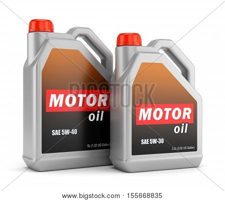 Two plastic canisters of motor oil with label isolated on white background. 3D illustration