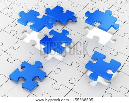 Assembling puzzles. Business teamwork concept. 3D illustration