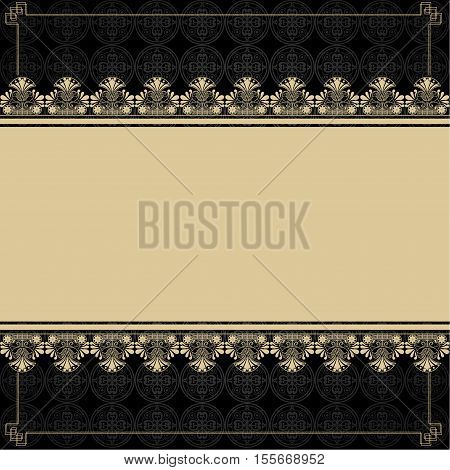 Vintage background with design elements, gold background