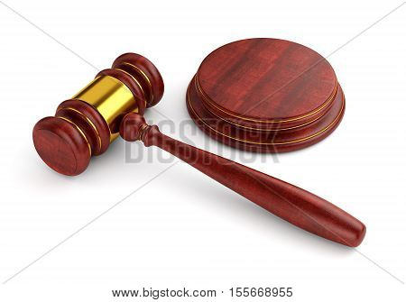 Wooden judge gavel with stand isolated on white background. Law and auction business concept. 3D illustration