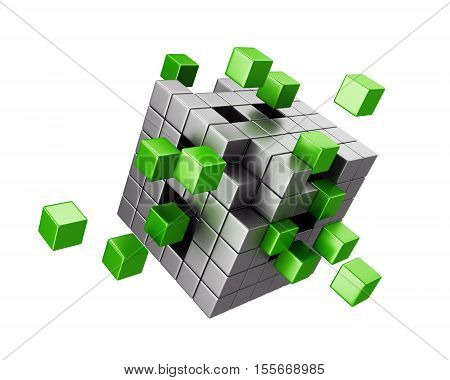 Assembling cube structure isolated on white background. Business teamwork and creativity concept. 3d illustration