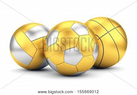 Team sport winning game and award concept. Golden volleyball basketball and soccerball isolated on white background. 3D illustration