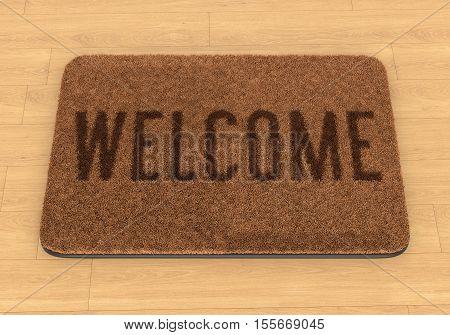 Brown coir doormat with text Welcome on wooden floor. 3D illustration