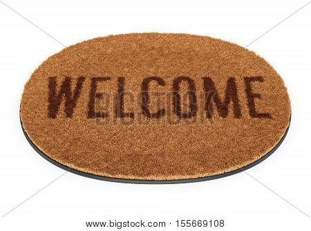 Brown coir doormat with text Welcome isolated on white background. 3D illustration