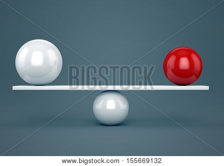 Abstract balance accuracy and harmony concept. Red and white glossy balls on plank. 3D illustration