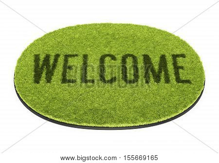 Green oval doormat with text Welcome isolated on white background. 3D illustration