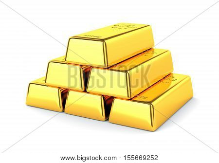 Gold bars. Group golden ingots isolated on white background. Banking and investment concept. 3D illustration