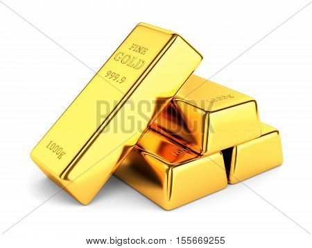 Gold bars. Group of golden ingots isolated on white background. Banking and investment concept. 3D illustration