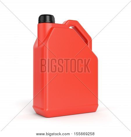 Red jerry can. Plastic canister with lid isolated on white background. 3D illustration