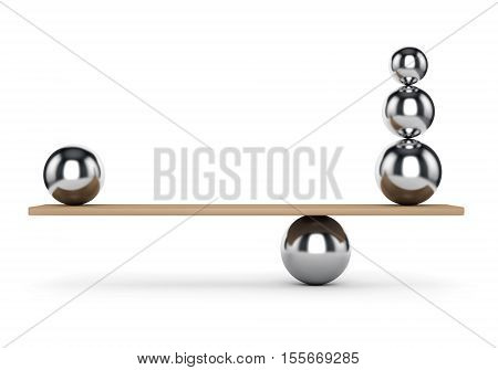 Abstract balance and harmony concept. Metal balls on plank isolated on white background. 3D illustration