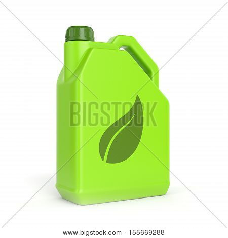 Green energy and bio fuel concept. Gasoline jerrycan with leaf symbol isolated on white background. 3D illustration