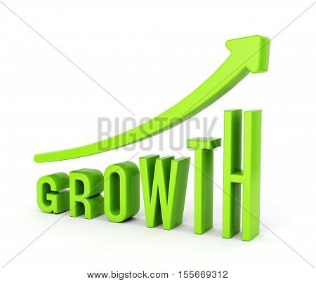 Growing graph chart with arrow and text GROWTH. Business progress and development concept. 3D illustration
