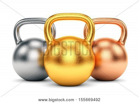 Golden silver and bronze kettle bells isolated on white background. Sport trophy winning and award concept. 3D illustration