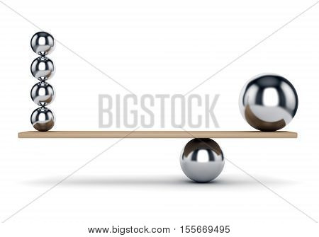 Abstract balance harmony and justice concept. Metal spheres on plank isolated on white background. 3D illustration