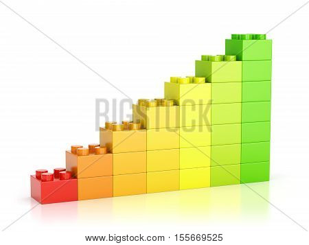 Growth graph diagram made of colorful toy building blocks isolated on white background. 3D illustration