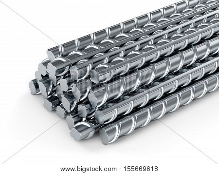 Reinforcing steel bars. Building armature on white background. poster
