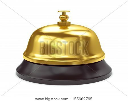 Gold reception bell with button isolated on white background. 3D illustration