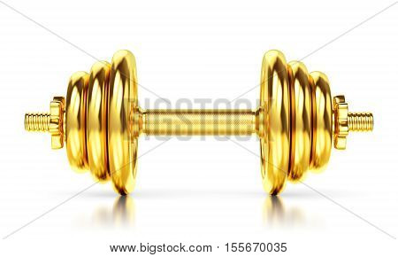 Golden Dumbbell On White Background