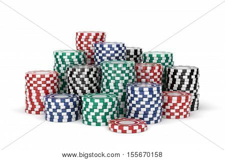 Group of colorful gambling chip stacks. Red green blue and black casino tokens isolated on white background. 3D illustration