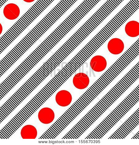 Seamless Diagonal Black Stripe and Red Circle Pattern. Vector Minimalistic Background. Abstract Geometric Graphic Design