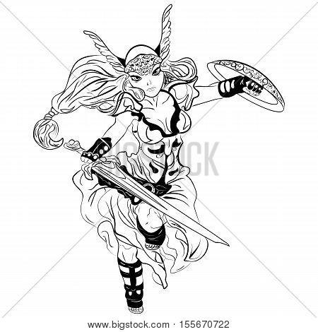 black and white vector sketch cartoon Valkyrie. Viking Girl