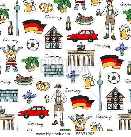 Vector seamless pattern with hand drawn colored symbols of Germany. Pattern on the theme of travel and tourism. Background for use in design, packing, web site, fabric
