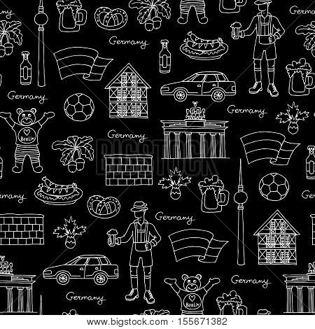 Vector seamless pattern with hand drawn isolated symbols of Germany on black color. Pattern on the theme of travel and tourism. Background for use in design, packing, web site, fabric