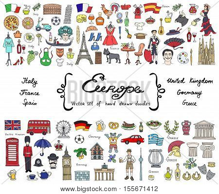 Vector set with hand drawn colored doodles on the theme of European countries - Italy, France, Spain, United Kingdom, Germany, Greece