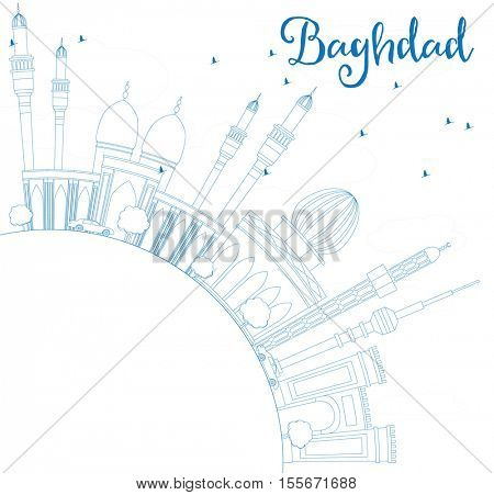 Outline Baghdad Skyline with Blue Buildings and Copy Space. Business Travel and Tourism Concept with Historic Buildings. Image for Presentation Banner Placard and Web Site.