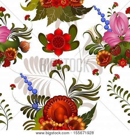 Seamless floral pattern with elements of Petrikovs painting