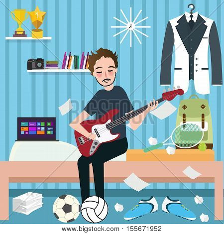 boys man room holding guitar in dorm play music vector