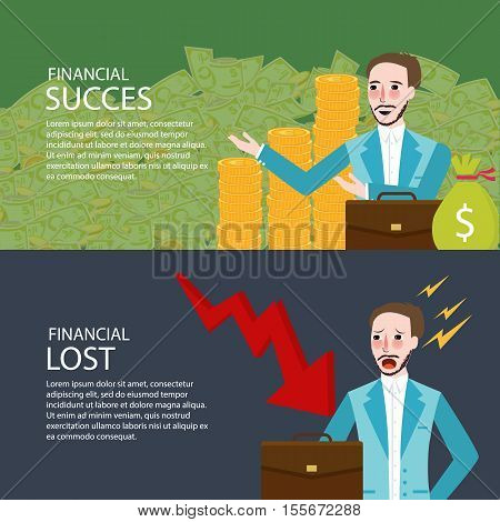 financial success and lost investment money chart down banner set vector