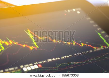 Financial stock market data. Candle stick graph chart of stock market ,stock market data graph chart on LED concept, stock market background ,stock market education and stock market analysis
