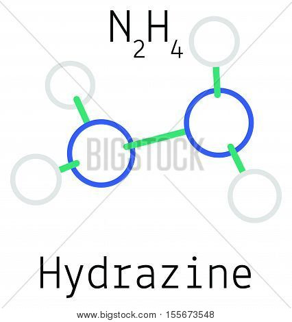N2H4 Hydrazine molecule isolated on white in vector