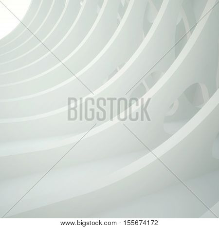 3d illustration. White three-dimensional composition based on a repetitive waveform extruded with oval holes Light in the end. Architectural background render.